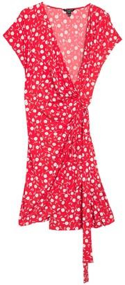 Maggy London Cap Sleeve Floral Wrap Dress (Plus Size)
