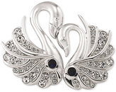 Carolee Silver-Tone Crystal Double Swan Pin