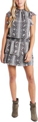1 STATE Snakeskin Print Tiered Chiffon Dress