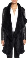 Rudsak Women's Mixed Media Coat With Genuine Rabbit Fur Trim