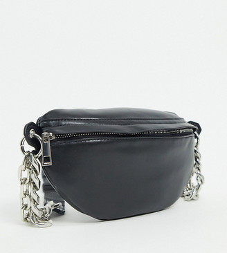 ASOS DESIGN CURVE PU bum bag with chunky chain in black