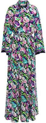 Emilio Pucci Belted Printed Silk Crepe De Chine Maxi Shirt Dress