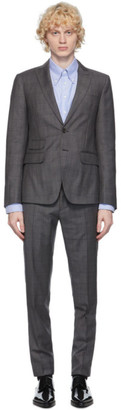 DSQUARED2 Grey Wool Check London Fit Suit