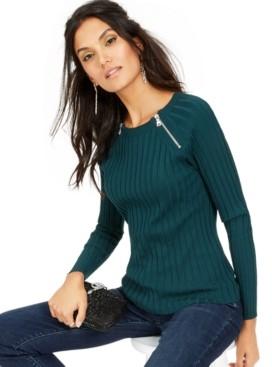 INC International Concepts Inc Zipper-Detail Raglan Sleeve Sweater, Created for Macy's