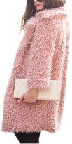 Gloria JR Womens Fuzzy Faux Lamb Fur Coat Long Jacket Notched Lapel Mid Long Coat