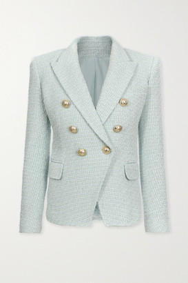Balmain Double-breasted Button-embellished Tweed Blazer - Sky blue
