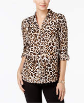 Charter Club Leopard-Print Utility Shirt, Created for Macy's