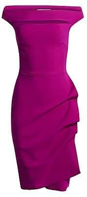Chiara Boni Women's Melania Off-The-Shoulder Side Ruched Cut Out Sheath Dress