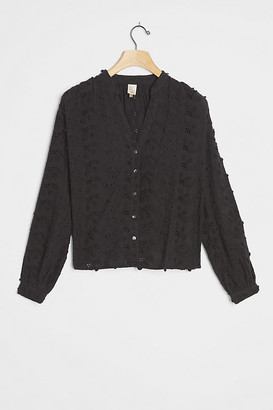 Kathryn Textured Blouse By Seen Worn Kept in Black Size 6 p