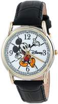 Disney Men's W001013 Cardiff 2-Ton Black Leather Strap Watch
