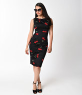 Stop Staring Retro Style Black & Red Floral Print Alabama Wiggle Dress
