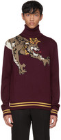 Dolce & Gabbana Burgundy Royal Leopard Turtleneck