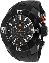 Swiss Legend Men's 'Lionpulse' Quartz Stainless Steel and Silicone Automatic Watch, Color:Black (Model: 10616SM-BB-01-OA)
