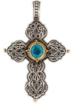 Konstantino Two-Tone Blue Topaz Cross Pendant