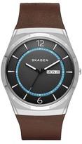 Skagen Men's Melbye Titanium Leather Strap Watch