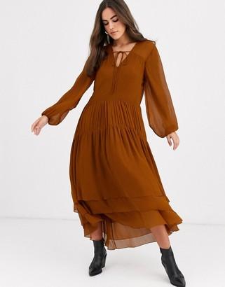 Vila tiered maxi dress in brown