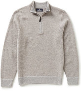 Hart Schaffner Marx Cashmere Diagonal Texture Mock Neck Quarter-Zip Sweater