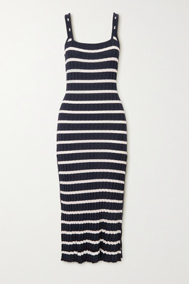 Solid & Striped The Kimberly Striped Ribbed-knit Midi Dress - Navy