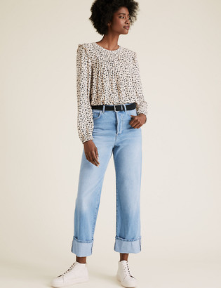 Marks and Spencer High Waisted Belted Wide Leg Jeans