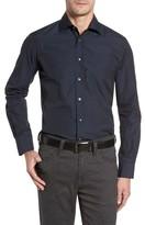 Luciano Barbera Men's Trim Fit Mini Check Sport Shirt