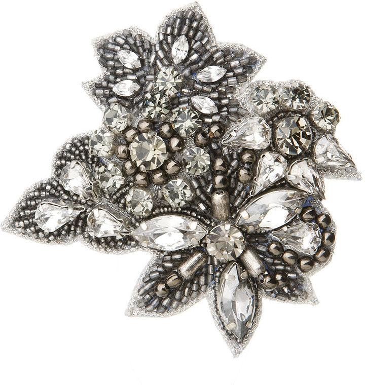 Deepa Gurnani Crystal Leaf Clip, Gunmetal 1 ea
