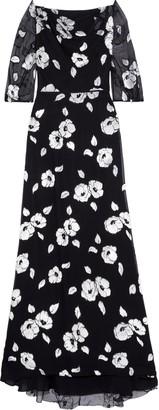 Carolina Herrera Tinsel-trimmed Flocked Silk-blend Georgette Gown