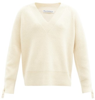 J.W.Anderson V-neck Cable-knit Sleeve Alpaca-blend Sweater - Ivory