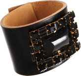 Marni Leather Cuff with Rectangular Jewel Embellishment
