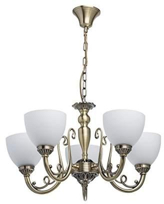 Classic Elegant 5 Light Chandelier Antique Messingfarbiges Metal Matte White Glass. Requires 5 x 60 W E27 2700К