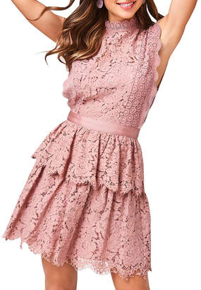 Girls On Film Lace Sleeveless Tiered Dress