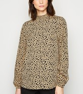 New Look Tall Light Animal Print Shirred Neck Top
