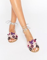 Asos FRACTION Embroidered Flat Sandals