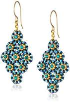 Miguel Ases Blue Green Small Diamond-Shape Earrings
