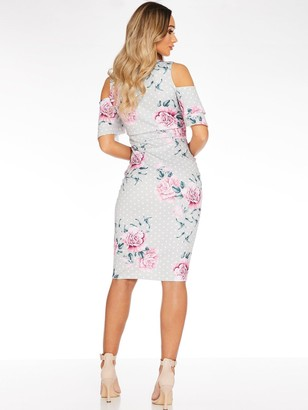 Quiz Bardot Midi Dress with Frill Sleeve - Grey