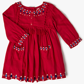 John Lewis Embroidered Twill Dress, Red