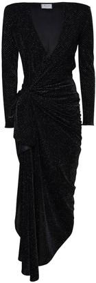 Redemption Draped Glitter Velvet Midi Dress