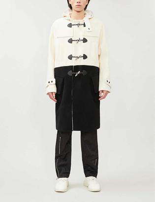 Nicomede.Gloverall Hooded contrast-panel wool duffle coat