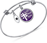 Unwritten Purple Cross Disc Bangle Bracelet in Stainless Steel and Silver-Plate
