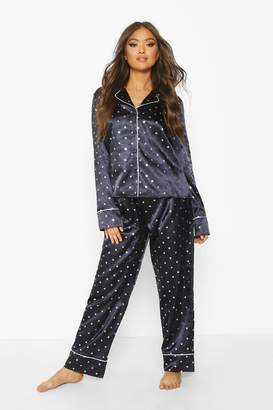 boohoo Premium Satin Metallic Star Print PJ Set