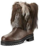 Jimmy Choo Dana Fur-Trimmed Leather Boot, Black/White
