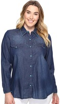 Roper Plus Size 0604 5 Oz. Indigo Denim Long Sleeve Shirt