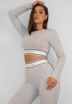 Missguided Grey Waistband Crop Loungewear T Shirt