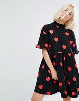 Lazy Oaf Mini T-Shirt Dress In All Over Heart Spots And Frilly Hems