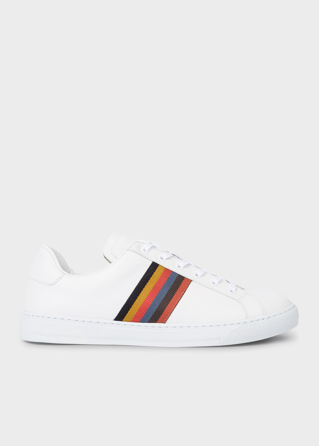 Paul Smith Men's White Calf Leather 'Hansen' Sneakers With 'Bright Stripe' Webbing