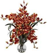 Nearly Natural Burgundy Large Cymbidium with Vase Arrangement
