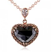Allurez , Champagne and White Diamond Heart Necklace 18k Rose Gold (1.88ct)
