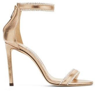 Jimmy Choo Dochas 100 Crystal-trimmed Leather Sandals - Rose Gold