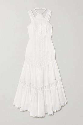 Charo Ruiz Ibiza Analia Crocheted Lace-trimmed Cotton-blend Voile Midi Dress - White
