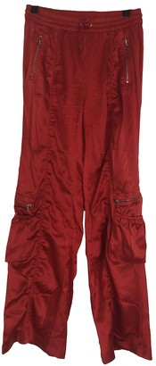 Nice Connection Red Silk Trousers for Women