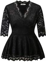 Dilanni Women Casuall Scalloped Floral Lace V Neck 3/4 Sleeve Top